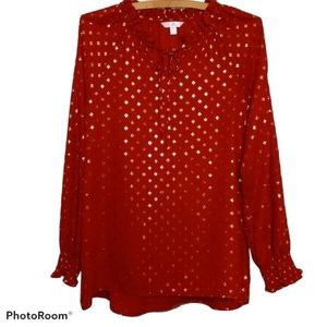 Time And True Blouse - Red and Gold Shimmery Shirt